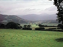 View across the Conwy Valley close to the location of the lost church of Llwydfaen