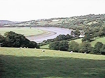 Bend in the river Conwy close to the location of the lost church of Llwydfaen