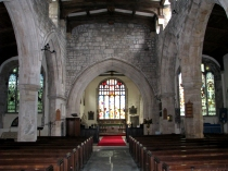 Interior of Beaumaris Church looking down the nave toward the Chancel