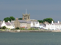 View of Beaumaris church tower from the seafront